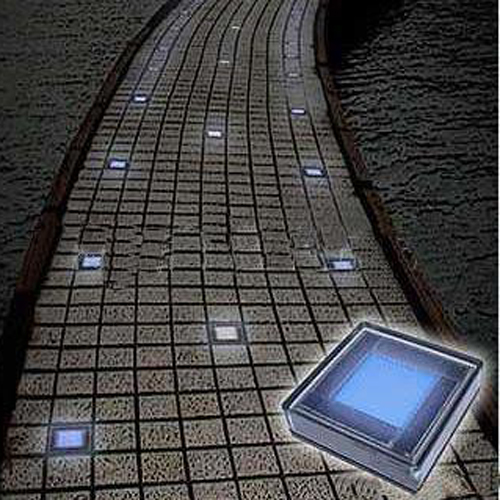 Outdoor Solar White Brick Garden Lights With 6 Leds