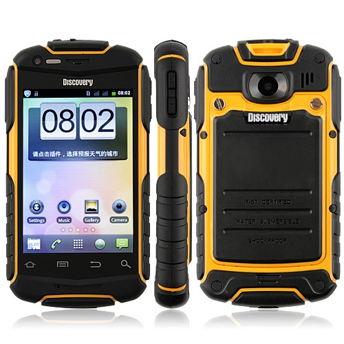 Wholesale V5 Shockproof Android 2.3 Wi-Fi 3.5 Inch Capacitive Screen Smart Phone (Yellow)