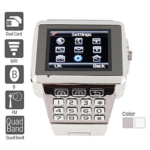 Wholesale Quad-band Dual SIM Standby Wi-Fi Cell Phone Watch - Silver