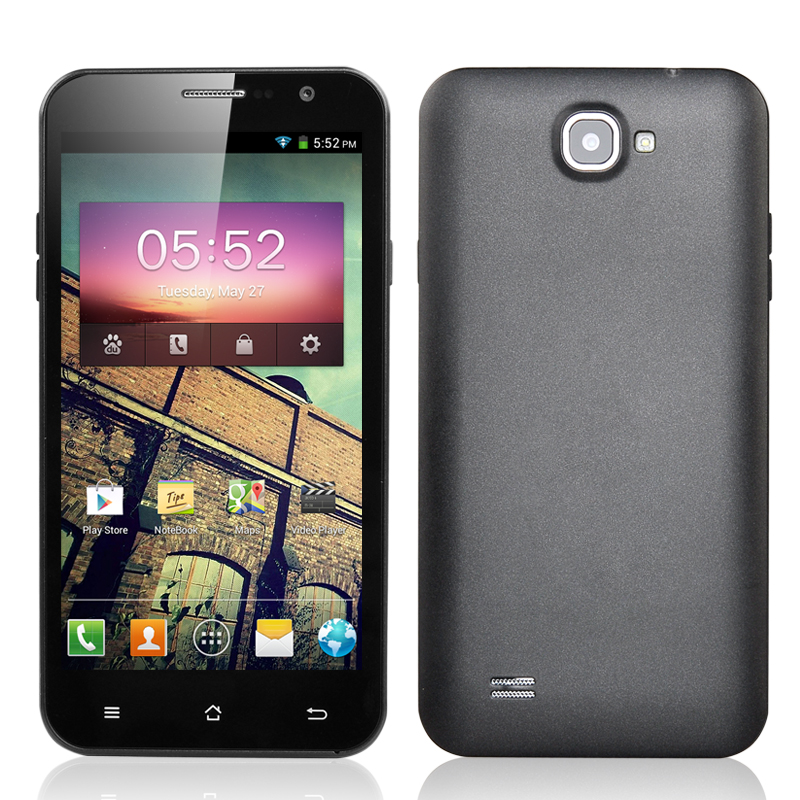 Wholesale 5.3 Inch Quad Core 3G Android 4.2 Smartphone (Dual SIM, MTK6589 1.2GHz CPU, 4GB ROM, 1GB RAM, Dual Camera, Grey)