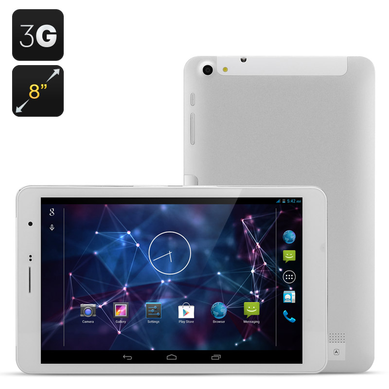 Wholesale 8 Inch 3G Android 4.2 Tablet + Dual SIM Phone (MTK8382 Quad Core, 1GB RAM, 16GB ROM, White)