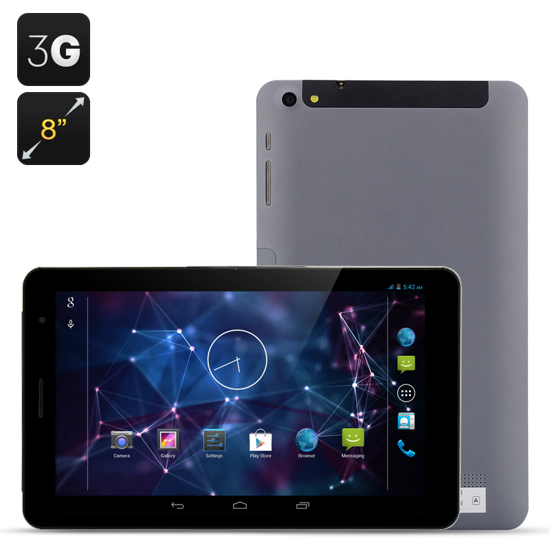 Wholesale 8 Inch 3G Android 4.2 Tablet + Dual SIM Phone (MTK8382 Quad Core, 1GB RAM, 16GB ROM, Grey)