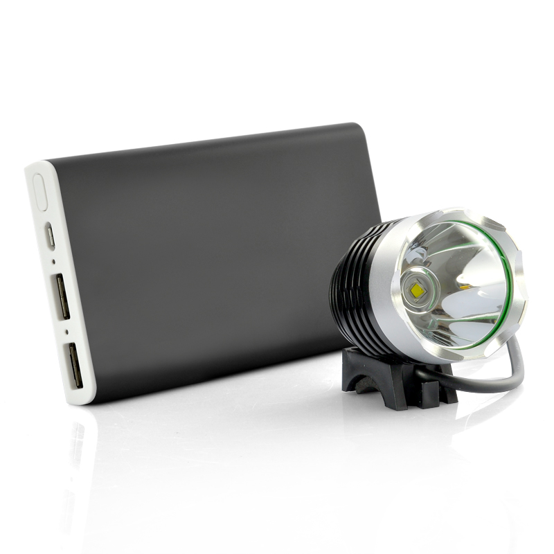 Wholesale CREE XM-L LED Bicycle Light + Head Lamp + 8000mAh Power Bank (IPX6 Waterproof, 1000 LM, 3-Modes, Two USB Ports)