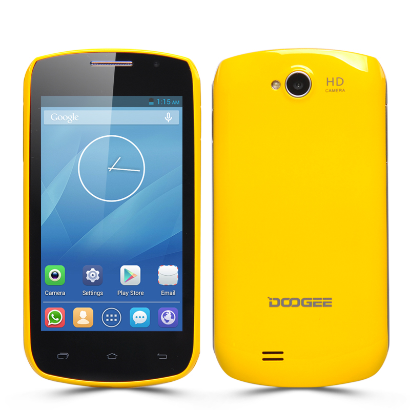 Wholesale DOOGEE DG110 COLLO 3 Dual SIM Android Smartphone (4 Inch, Dual Core 1.3GHz CPU, 800x480, Yellow)