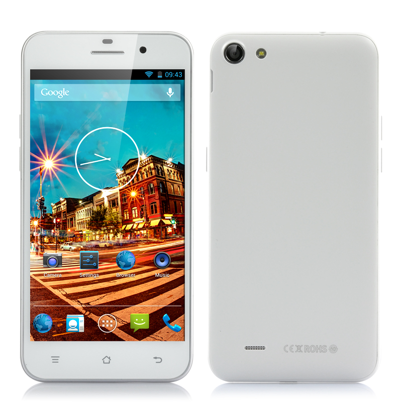 Wholesale 5 Inch 720p HD Quad Core Android Smartphone (Dual SIM, MTK6582 1.3GHz CPU, 1GB RAM, White)