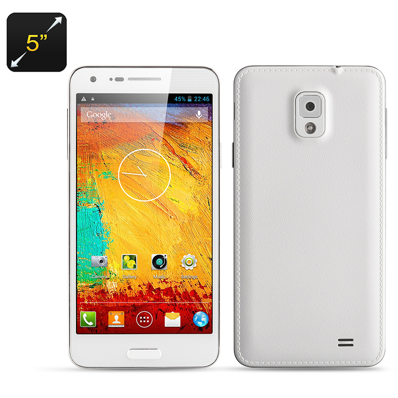 Wholesale Note 3 Mini - 5 Inch Octa Core Smartphone (Dual SIM, 1.7GHz CPU, 1GB RAM, 8GB ROM, Android 4.2, White)