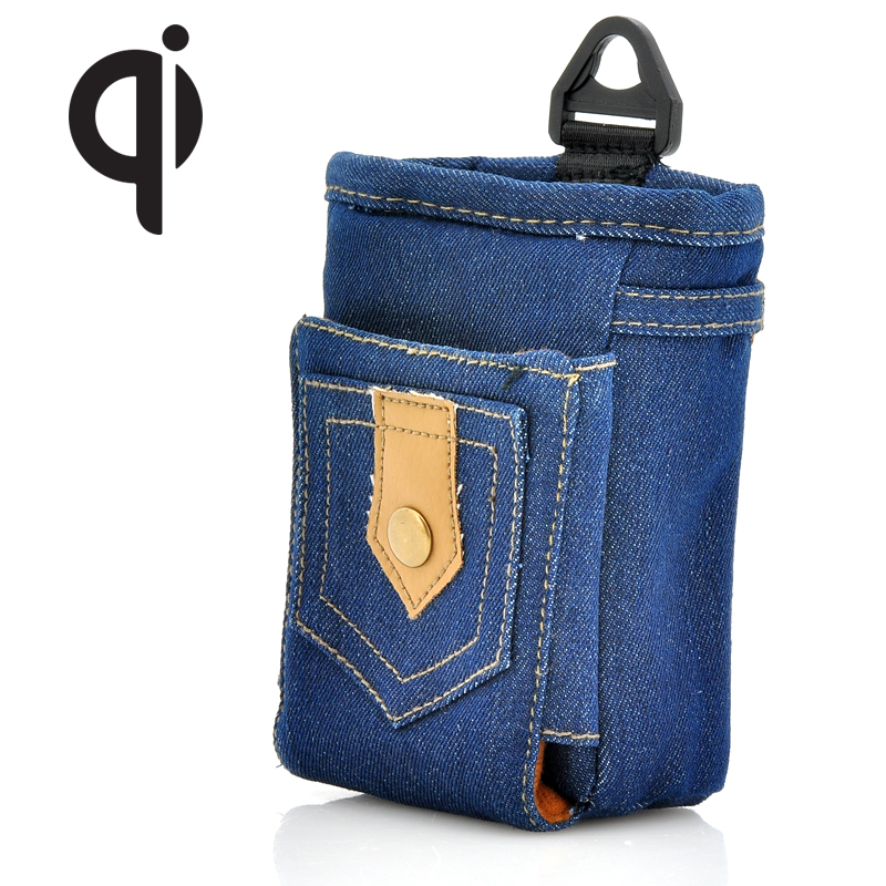 Wholesale Portable Qi Standard Wireless Charging Denim Phone Bag with Car Adapter