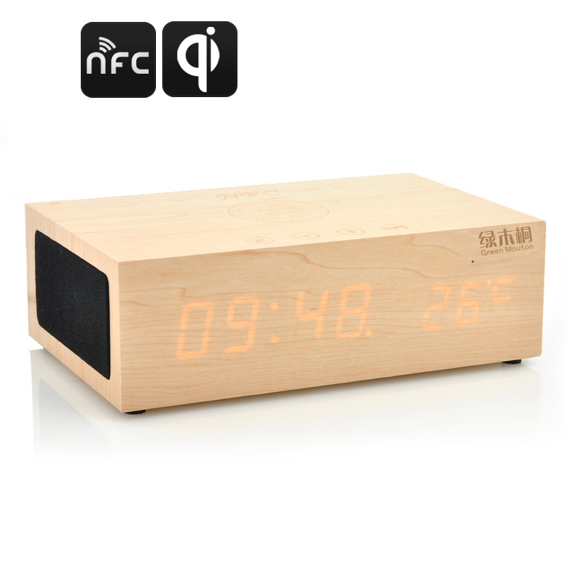 Wholesale QiBox NFC Wireless Qi Charging Wooden LED Clock with Bluetooth S