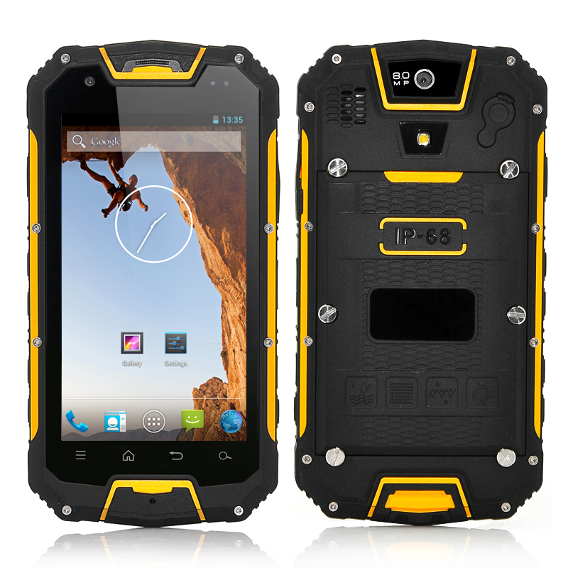 Wholesale Rugged Quad Core Android Mobile Phone with Walkie Talkie (IP68 Waterproof, MTK6589 1.2GHz CPU, Yellow)