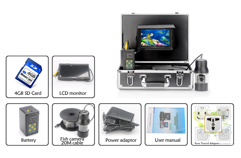 Underwater Fishing Camera with 7 Inch Screen and Metal Housing (360 Degrees, 1/3 Inch CCD, Remote Control, 480TVL)