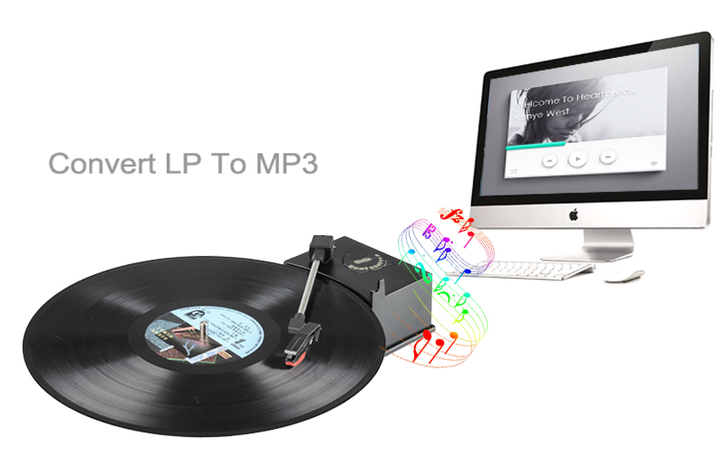 WIMI EC008B Mini USB Vinyl Turntable Audio Player (Convert LP To MP3, 33/45 RPM, RCA Output)