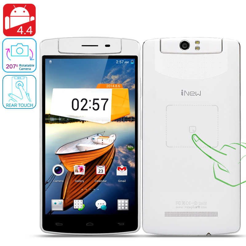 Wholesale iNew V8 Hexa Core Android 4.4 Phone (5.5 Inch, NFC, Rotating Camera, Rear Touch, 1080x720, 1.5GHz CPU, White)