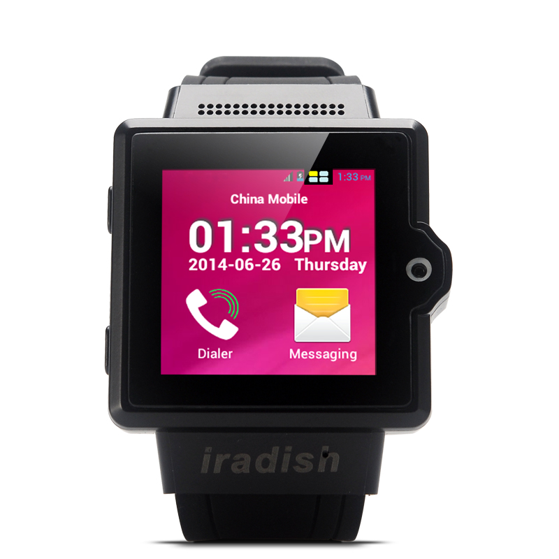 Wholesale iradish i6 1.54 Inch Touchscreen Android Watch Phone - Black