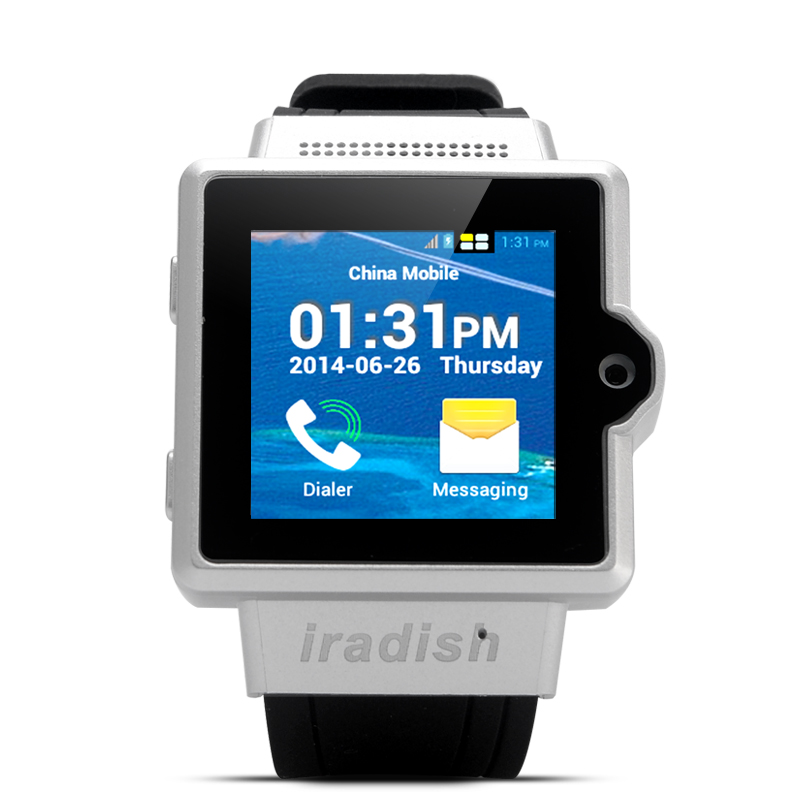 Wholesale iradish i6 1.54 Inch Touchscreen Android Watch Phone - Silver