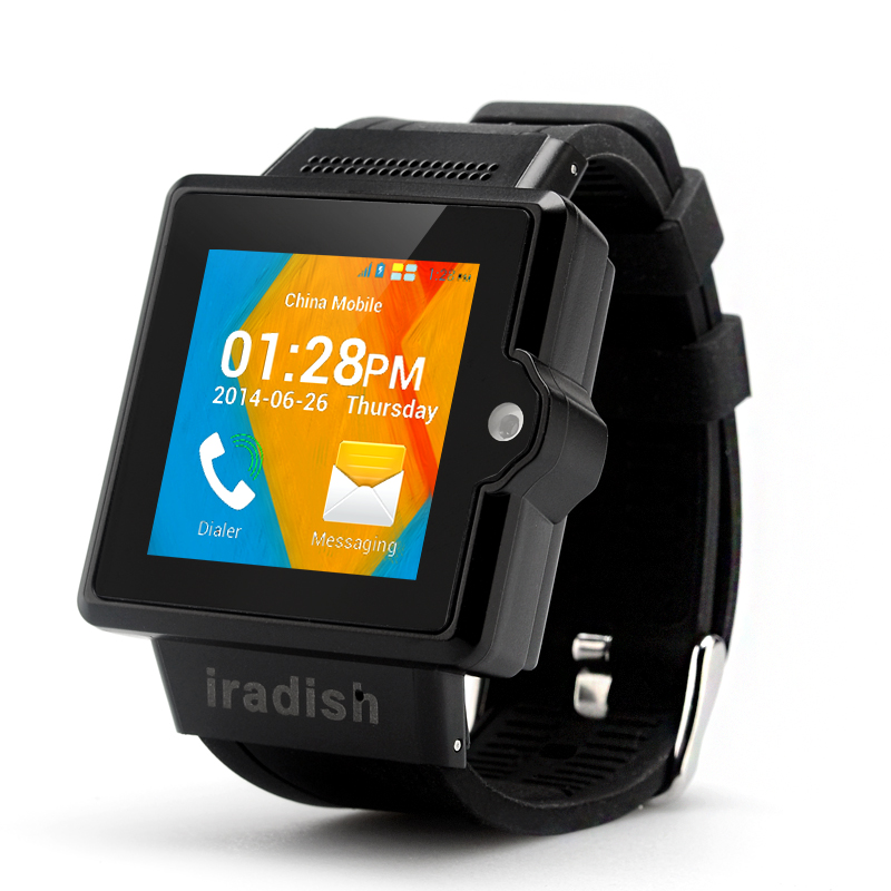 Wholesale iradish i6S Android 3G Watch Phone (1.54 Inch Screen, Dual Core 1.0GHz CPU, 4GB ROM, Black)