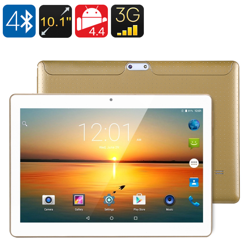 Wholesale 10.1 Inch 3G Android Tablet (Octa Core CPU, Bluetooth 4.0, OTG, 2GB RAM, 16GB, Gold)