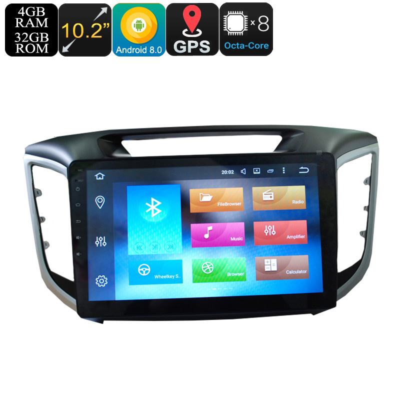 Wholesale 10.2 Inch 1 DIN Android 8.0 Car Media Player for Hyundai IX25 (Octa-Core, 3G/4G, GPS, Bluetooth, Wi-Fi, 4 + 32GB)