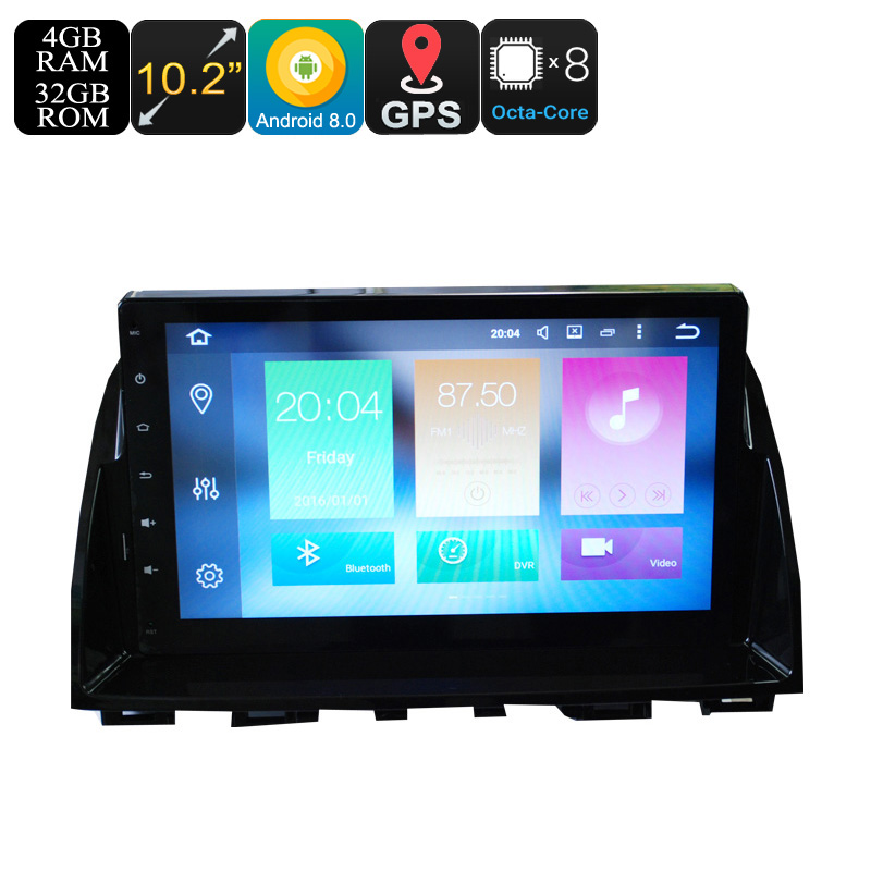 Wholesale 10.2 Inch 2 DIN Android 8.0 Car Media Player for Mazda 6 (Octa-Core, 3G/4G, Bluetooth, GPS, Wi-Fi, 4 + 32GB)