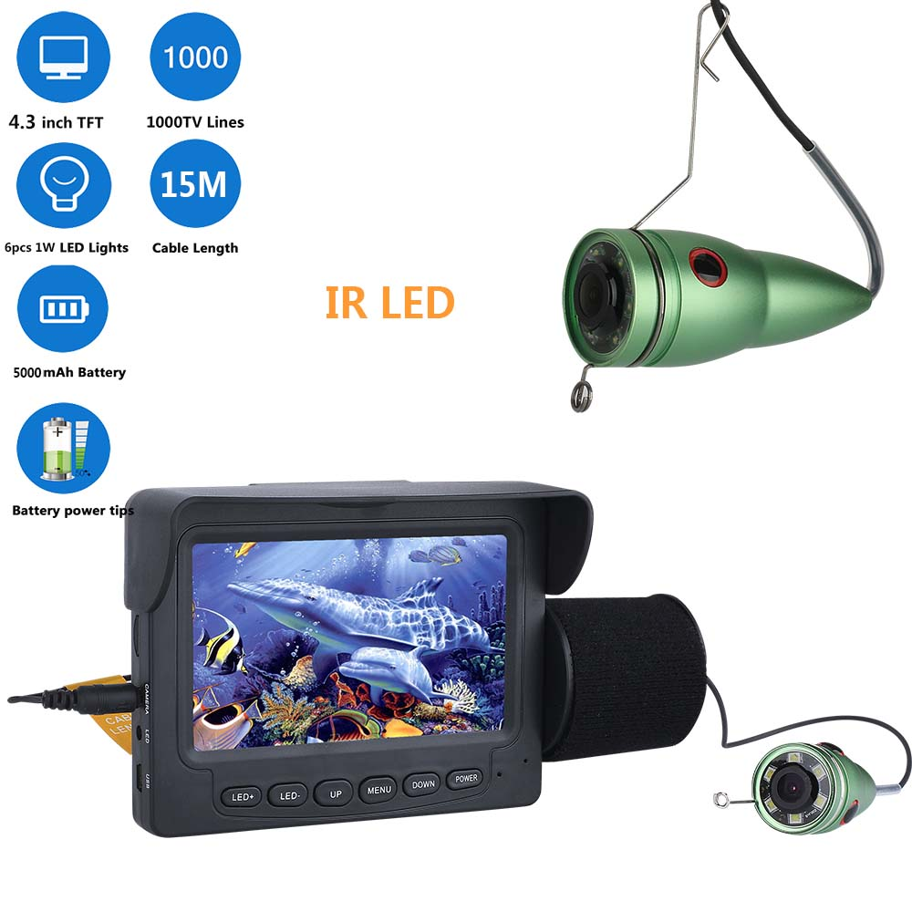 Wholesale 4.3 Inch Night Vision Underwater Fishing Finder Camera (IP68 Waterproof, 15m Cable, 6 IR LED, 1000TVL HD, 5000mAh)