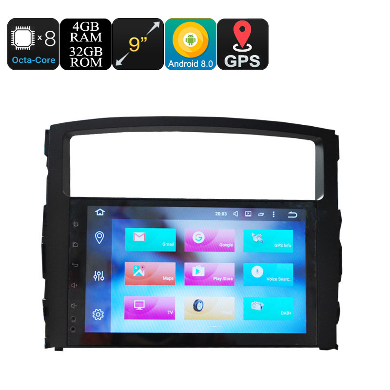 Wholesale 9 Inch One DIN Android 8.0 Car Stereo for Mitsubishi Pajero (Octa Core, GPS, WiFi, 3G, CAN BUS, 4 + 32GB)