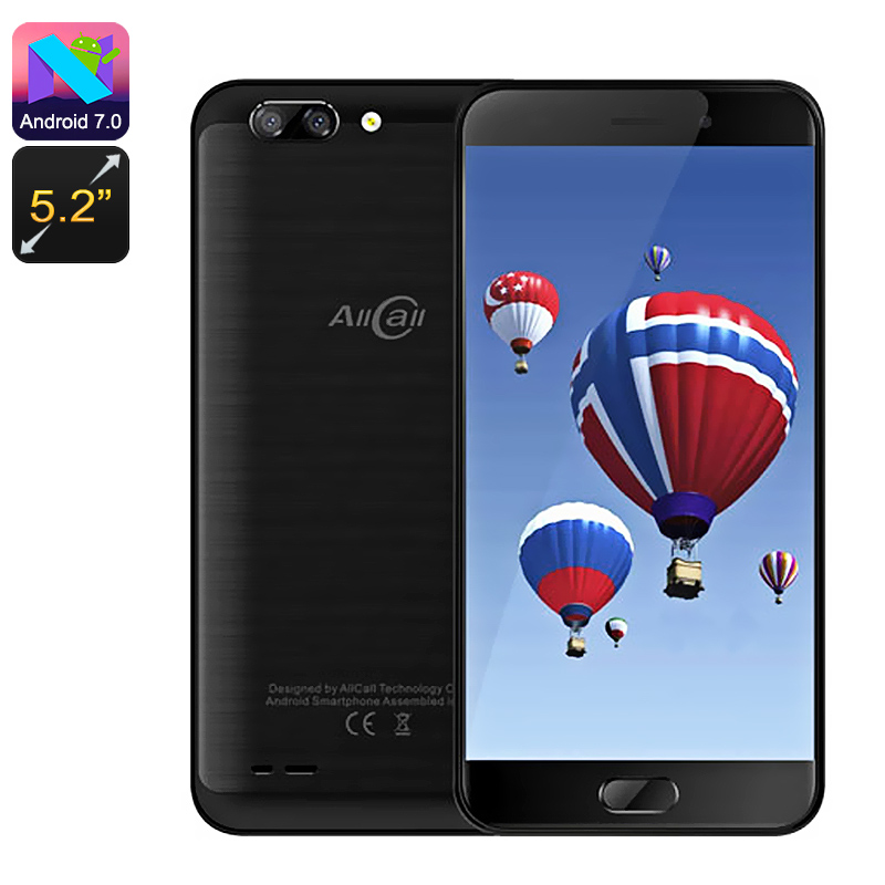 Wholesale AllCall Atom 5.2 Inch Dual SIM 4G Smartphone (Android 7, Quad Core CPU, Dual Rear Camera, 16GB, Black)