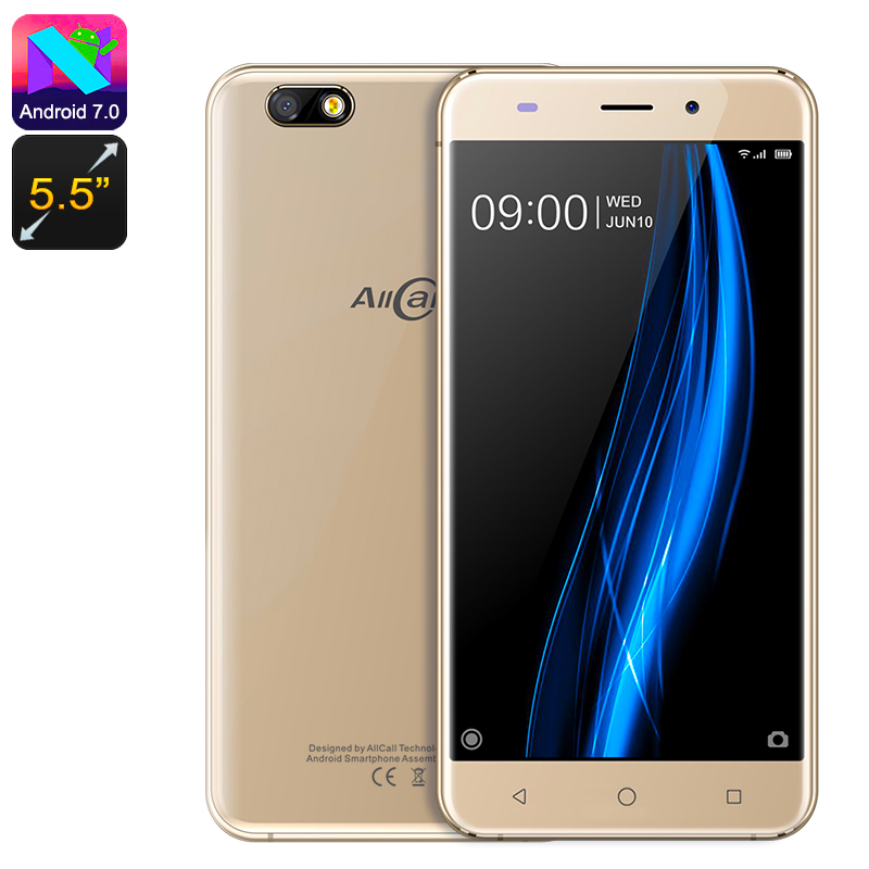 Wholesale AllCall Madrid 5.5 Inch 3G Smartphone (Quad Core CPU, Dual SIM, Gold)