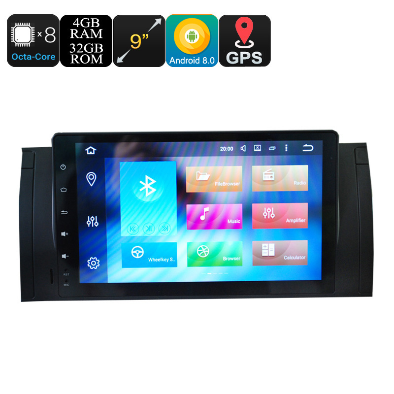 Wholesale 9 Inch Touchscreen Car Media Player for BMW 5 (Android 8.0, Octa Core, CAN-BUS, 3G/4G, Wi-Fi, Bluetooth, 4 + 32GB)