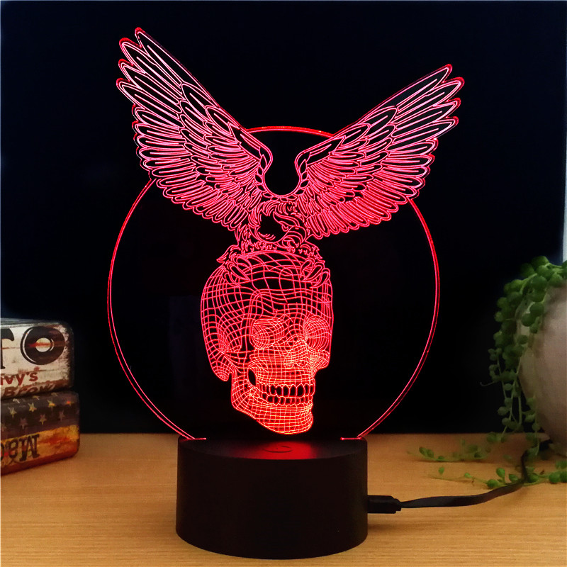 Wholesale Black Hawk Knight 3D LED Light (7 Colors, 2 Light Modes, Power Through Micro USB, 5W)