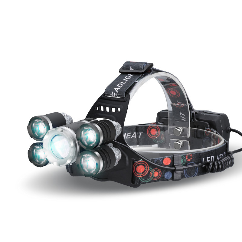 Wholesale CREE T6 LED Headlamp with Adjustable Head Strap (2800 Lumen, 5 LEDs, Zoom, Rechargeable)