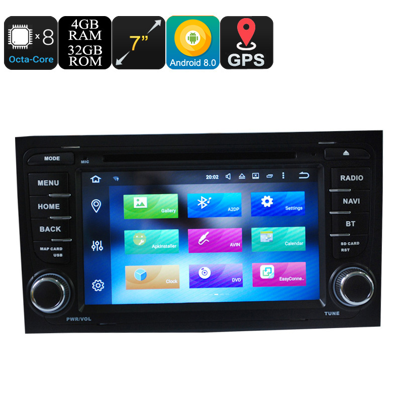 Wholesale 7 Inch 2 DIN Android 8.0 Car DVD Player for Audi (CAN BUS, Bluetooth, GPS, 3G/4G, Wifi, Octa Core, 4 + 32GB)