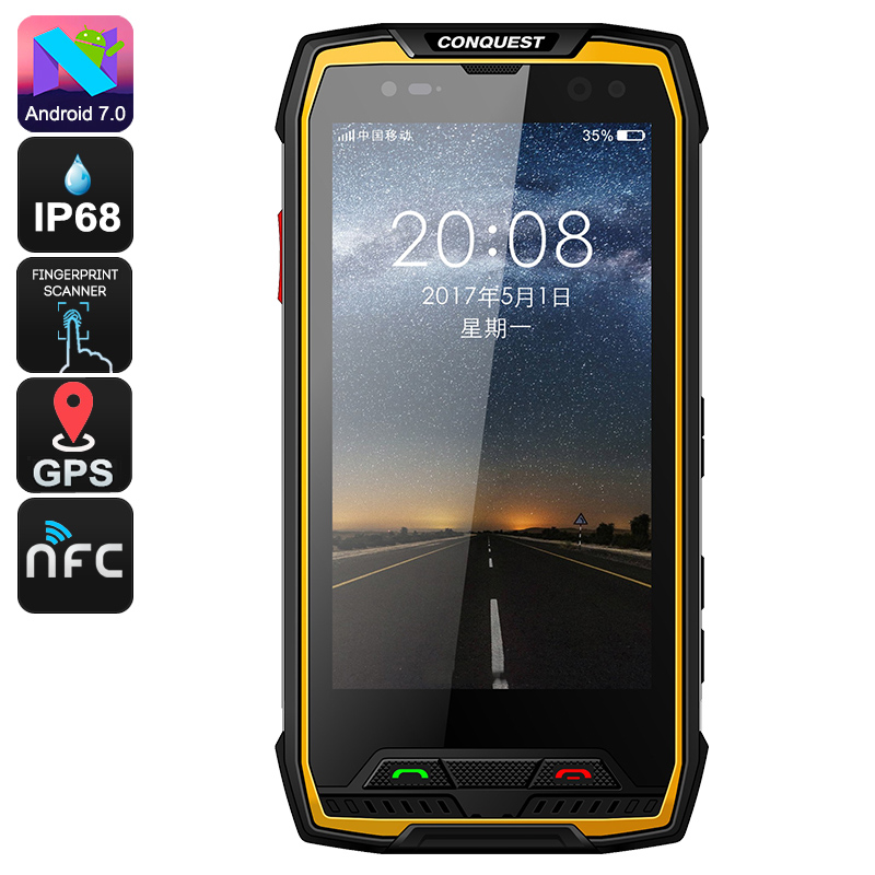 Wholesale Conquest S11 5 Inch HD IP68 Rugged Phone (Octa Core CPU, 6GB RAM, GPS, Fingerprint, NFC, 7000mAh, 128GB, Yellow)