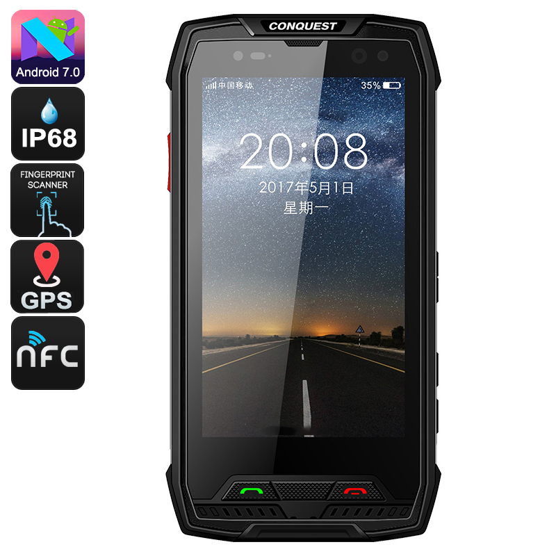 Wholesale Conquest S11 5 Inch HD IP68 Rugged Phone (Octa Core CPU, 6GB RAM, GPS, Fingerprint, NFC, 7000mAh, 128GB, Black)