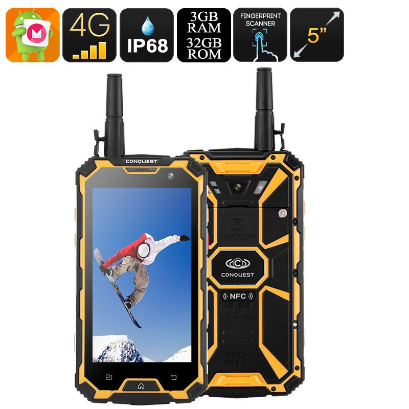 Wholesale Conquest S8 5 Inch IP68 Rugged 4G Outdoor Phone + Walkie Talkie (Octa Core CPU, 3GB RAM, 32GB, Yellow)