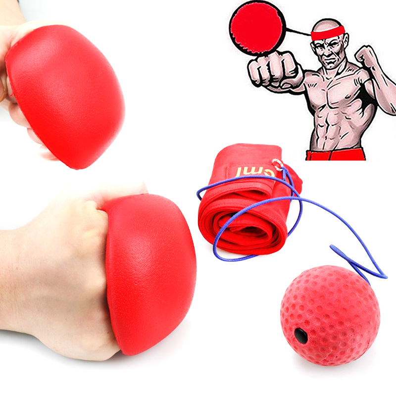 Wholesale Decompression Boxing Ball with Polyurethane Foam Ball and Moisture-Wicking Headband - Red