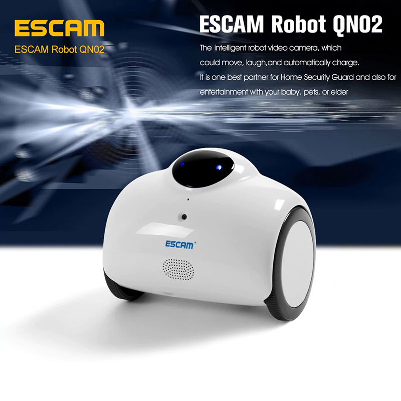 Wholesale ESCAM QN02 Robot Home Surveillance Camera Pet Baby Monitor (WiFi Remote, Two Way Audio, Rechargeable)