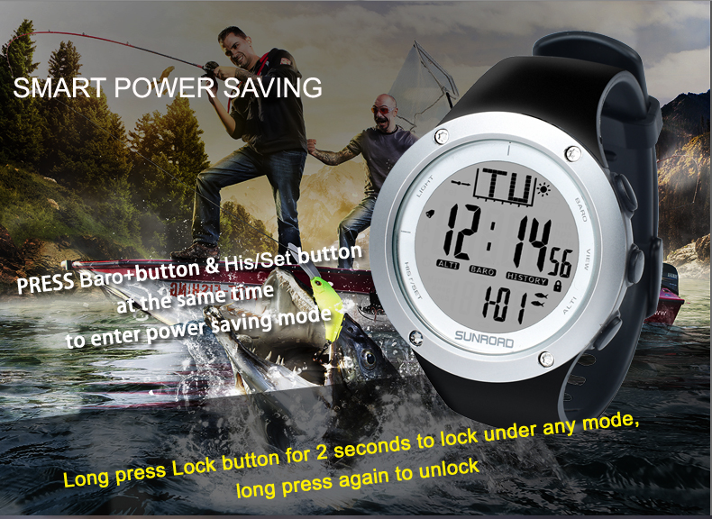 Wholesale Sunroad FR722A Fishing Barometer Watch (5ATM Waterproof, Altimeter, Thermometer, Weather Forecast, Silver)
