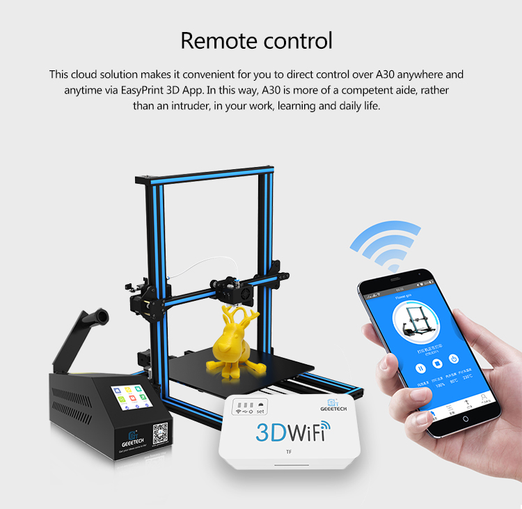 Wholesale Geeetech A30 Full-color Touchscreen DIY 3D Printer (Wi-Fi, Filament Detector, Large Printing Volume)