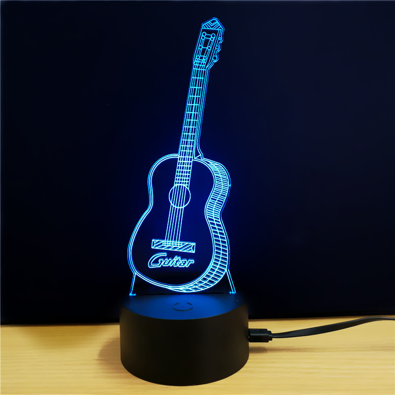 Wholesale Guitar 3D LED Light (7 Colors, Touch Switch, 5W)
