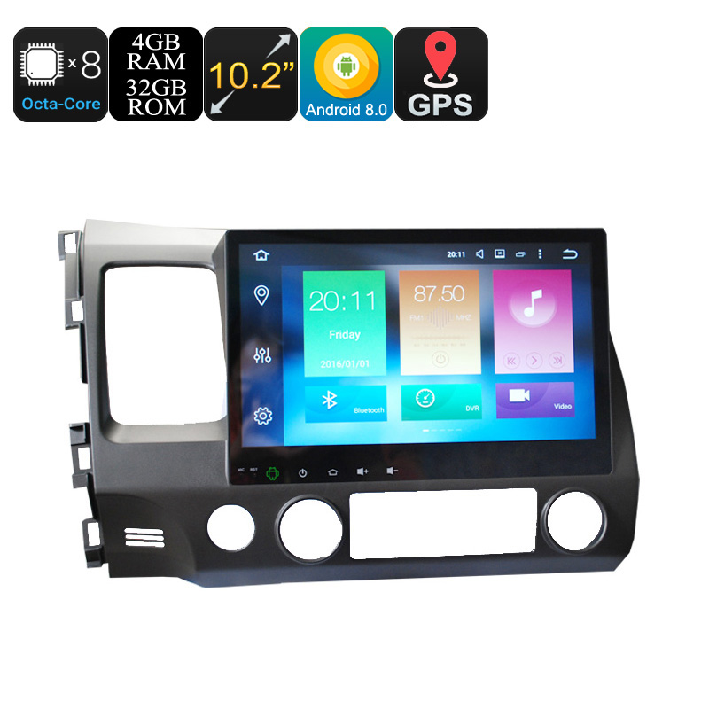 Wholesale 10.2 Inch 2 DIN Android 8.0 Car Media Player for Honda (GPS, WiFi, 3G, CAN BUS, Octa-Core CPU, Bluetooth, 4 + 32GB)