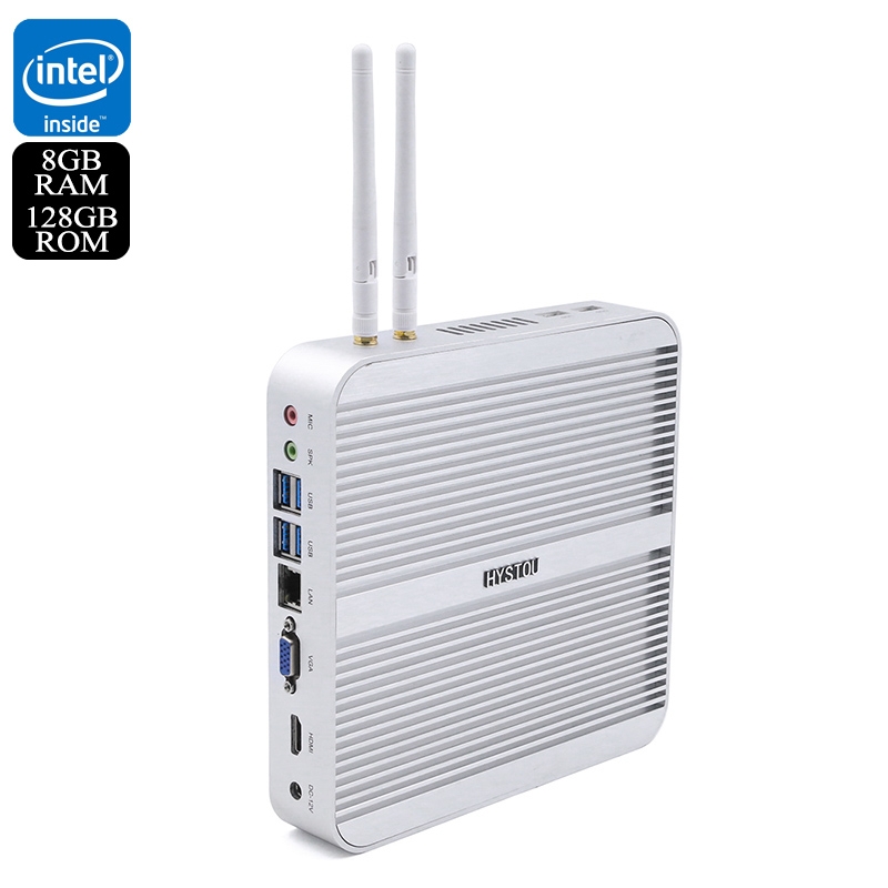 Wholesale Hystou FMP03 Barebones Fan-less Wi-Fi Mini PC (Windows 10 Licensed, 8GB RAM, i5-5250U CPU, SATA HDD, 128GB)