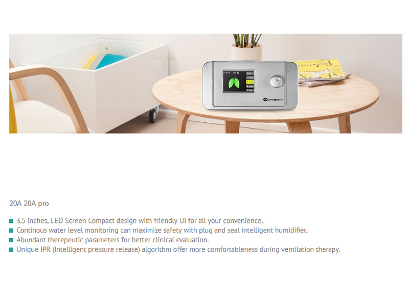 MOYEAH APAP Ventilator 20A (3.5 Inch, Data Management, Automatic Pressure Adjustment, Air Humidification, White)