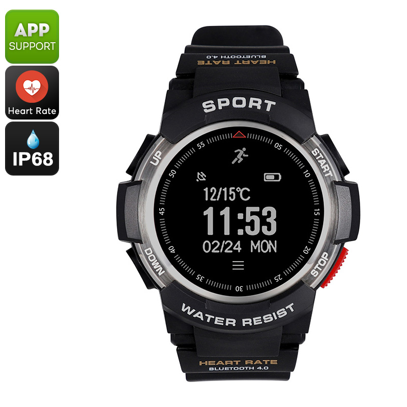 Wholesale No.1 F6 Waterproof Bluetooth Smartwatch with Pedometer and Heart Rate Monitor for iOS/Android - Silver