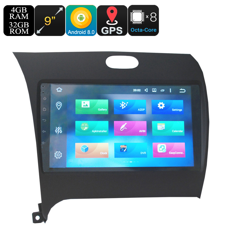 Wholesale 9 Inch One DIN Android 8.0 Car Media Player for KIA K3 (Octa-Core, 3G + 4G, GPS, Bluetooth, Wi-Fi)