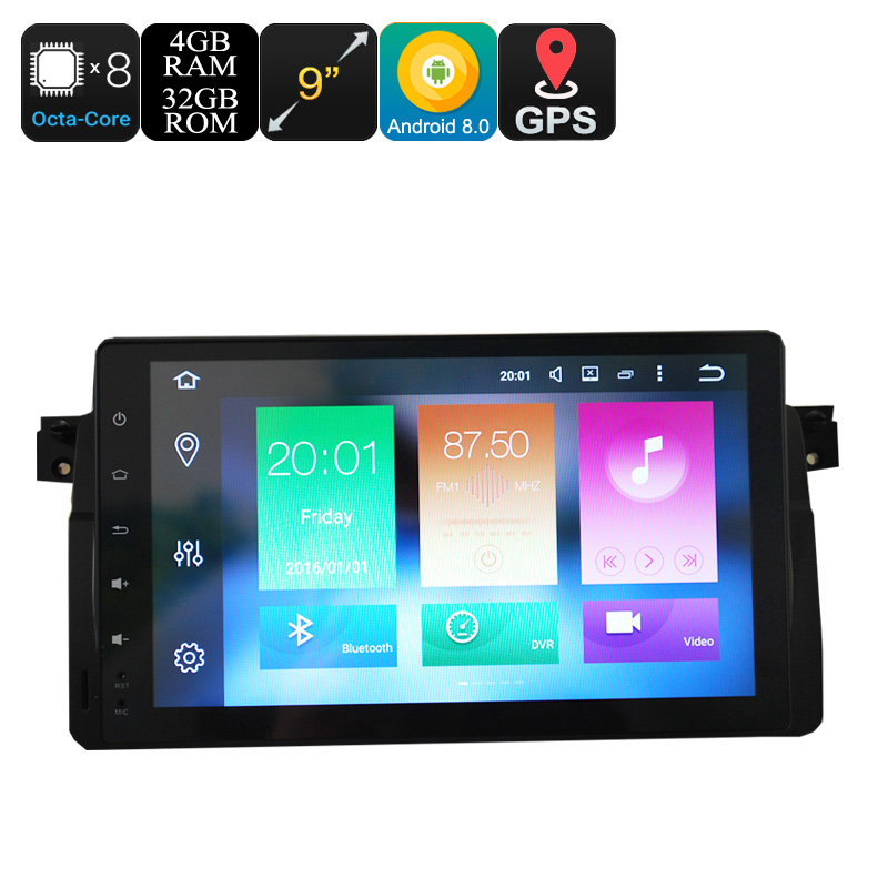 "Wholesale 9"" Touchscreen One Din Android 8.0 Car Media Player for BMW 3 (GPS, WiFi, CAN BUS, Bluetooth, 4GB RAM, 32GB)"