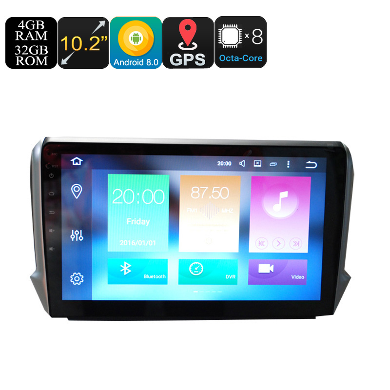 Wholesale 10.2 Inch One DIN Android 8.0 Car Stereo for Peugeot (GPS, WiFi, 3G, CAN BUS, Octa-Core CPU, Bluetooth, 4 + 32GB)