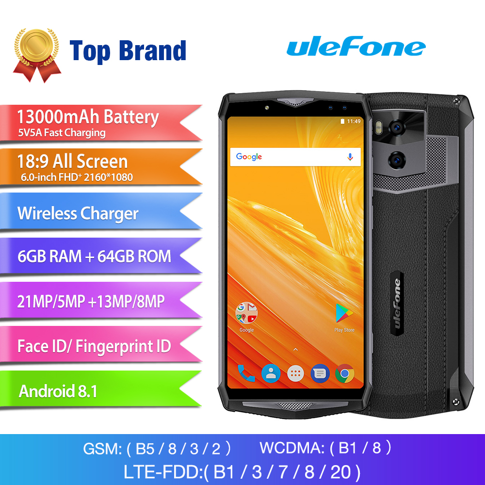 Wholesale Ulefone Power 5 6 Inch FHD Android 8.1 Phone (Octa-Core CPU, 6GB RAM, Dual SIM, 13000mAh)