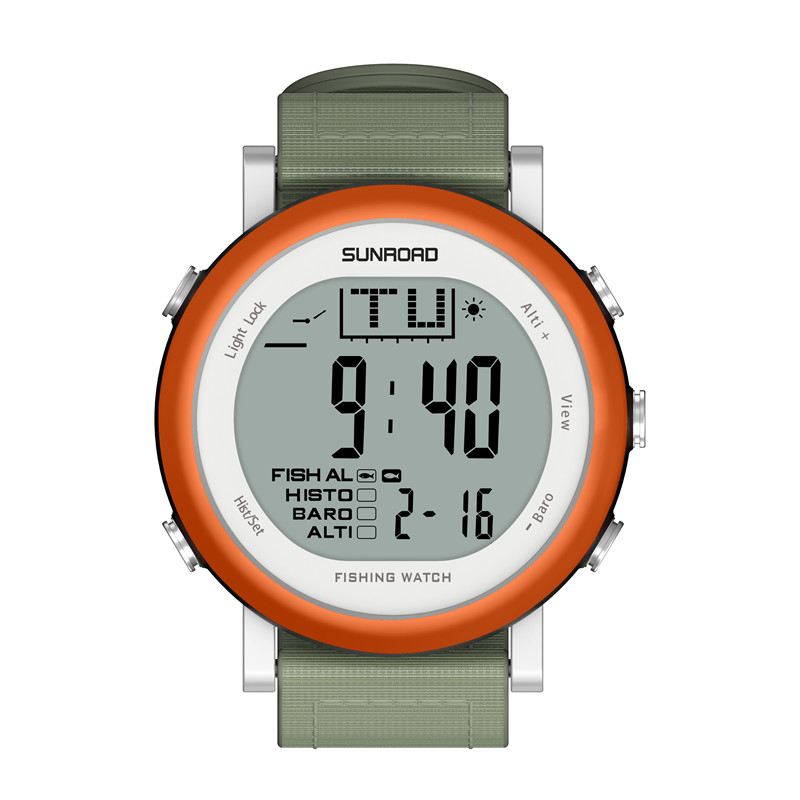 Wholesale SUNROAD FR721 Fishing Barometer Digital Watch (5ATM Waterproof, Multifunction, Orange)