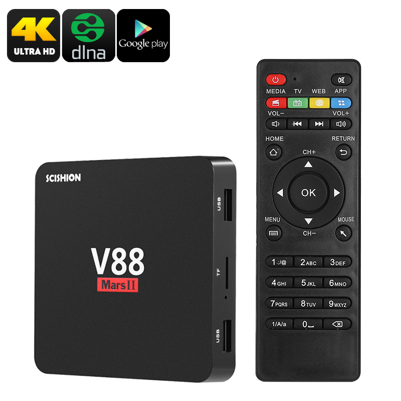 Wholesale Scishion V88 Mars 2 WiFi Android TV Box (HDMI, 4K, Quad-Core CPU, Kodi 16.1, Miracast, DLNA, 8GB)