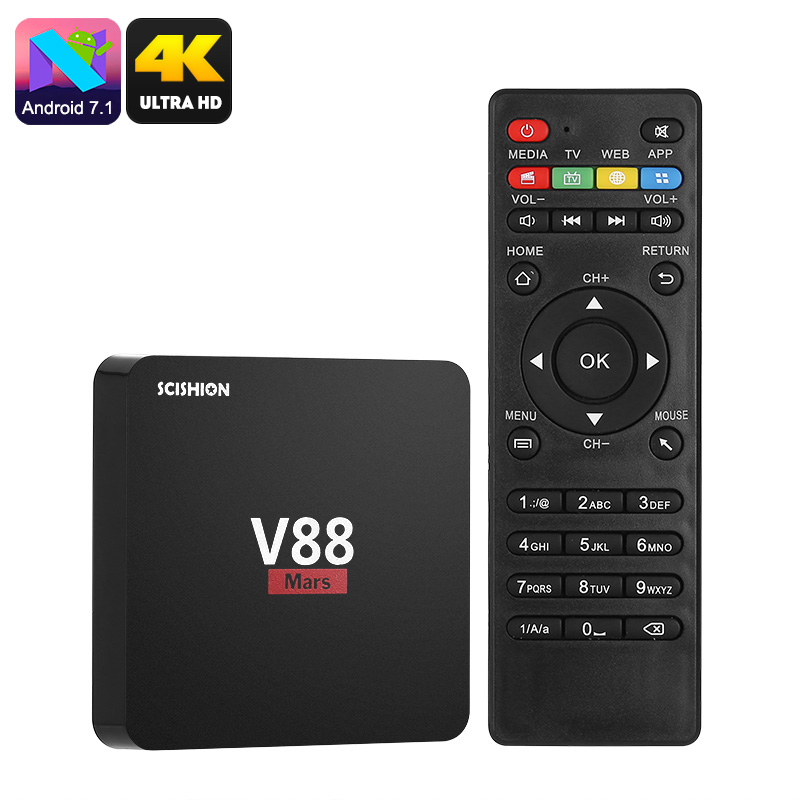 Wholesale Scishion V88 Mars Android 7.1 TV Box (4K, Quad-Core, WiFi, Mirac