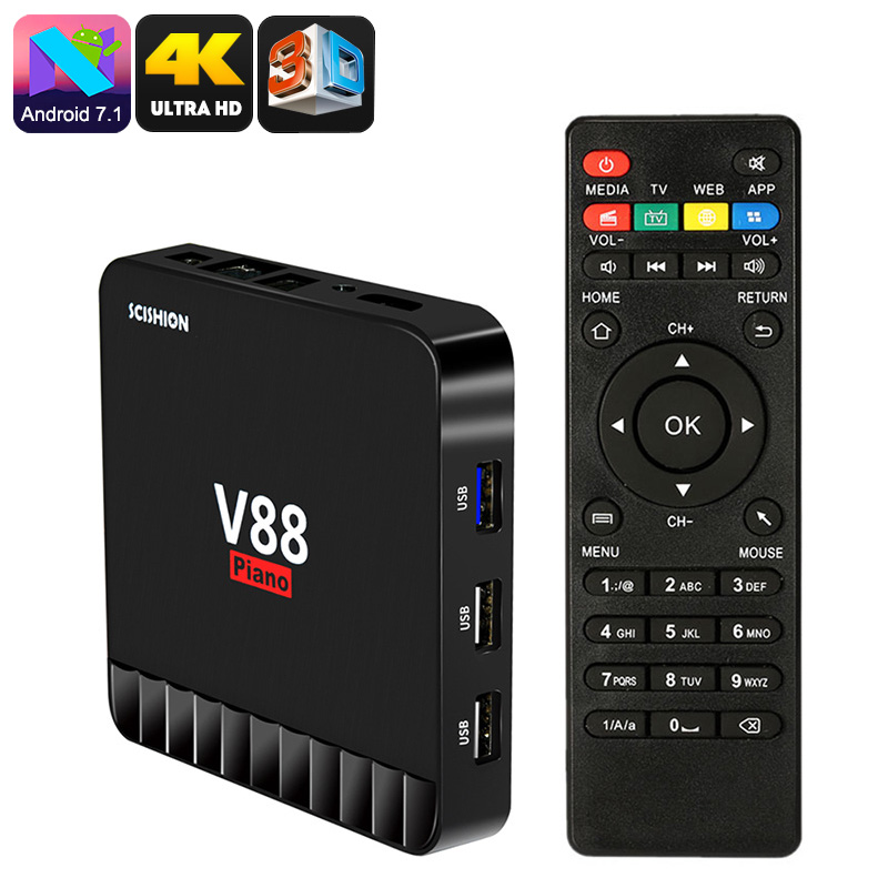 Wholesale Scishion V88 Piano 3D Media TV Box (4K Video, Wi-Fi, Android 7.1